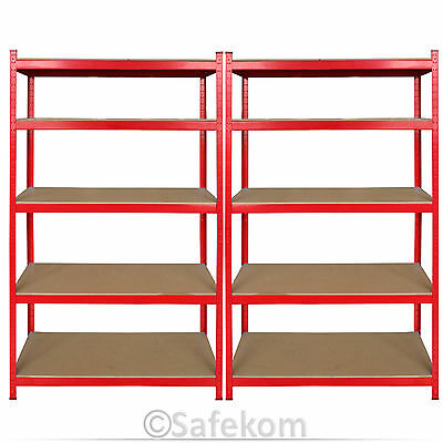 2 Bay Heavy Duty 5 Tier Rack Shelving Warehouse Garage Workbench Storage Unit UK