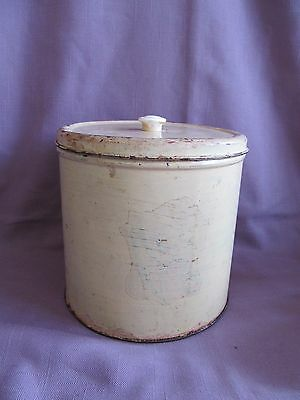 Vintage Metal Tin Canister Cream Off-White