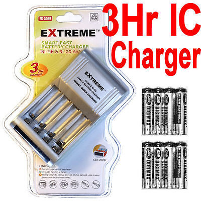 8 1100mah AAA NIMH Rechargeable Battery+EXTREME 3Hr Smart AA/AAA 4 Bay Charger