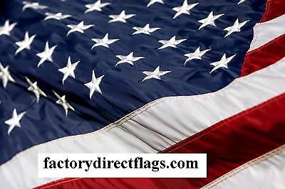 Embroidered Us Flag 3' X 5' American Made Flag 2 Ply Spun Poly Made In Usa