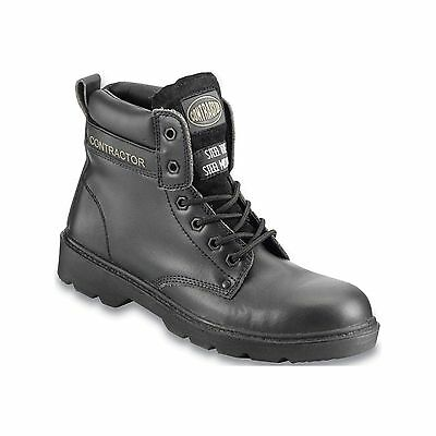 Contractor Leather 6in. Safety Boots S3 - Black - UK 7 - Workwear