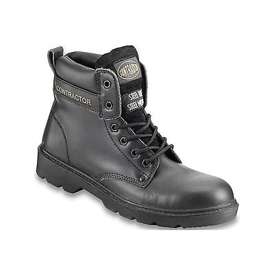 Contractor Leather 6in. Safety Boots S3 - Black - UK 8 - Workwear