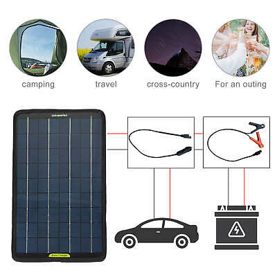 10W 12V Portable Solar Panel Battery Charger Fit for Boat Car Camping Home