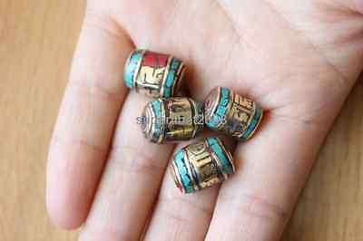 4 PCS Nepal Cylindrical Brass Handmade Turquoise Coral Mantra Beads (18000080)