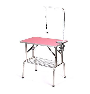 Pedigroom stainless steel dog pet grooming show portable mobile table arm pink