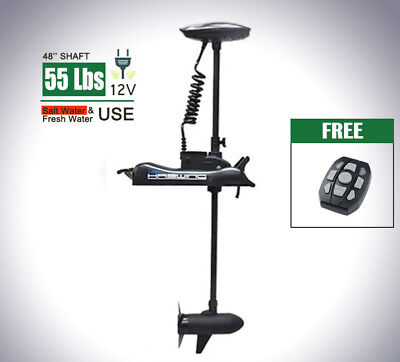 Bow Mount Electric Trolling Motor 55 LBS with wireless remote control White