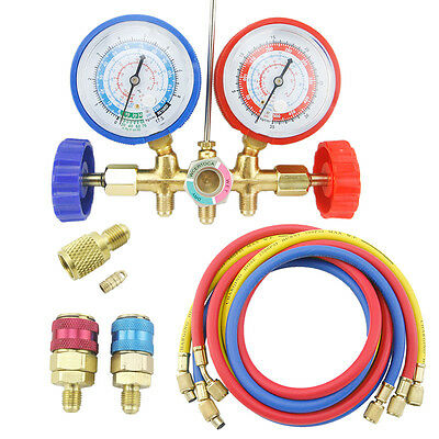 R12 R134A R22 R502 Diagnostic Manifold Gauge Set HVAC w/ Quick Coupler & 3 Hoses