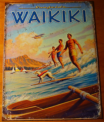 RETRO VINTAGE WAIKIKI HAWAII Canoe Diamond Head Surfer Beach Sign Home Decor NEW