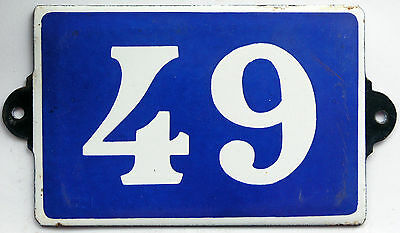 Old blue French house number 49 door gate plate plaque enamel steel metal sign