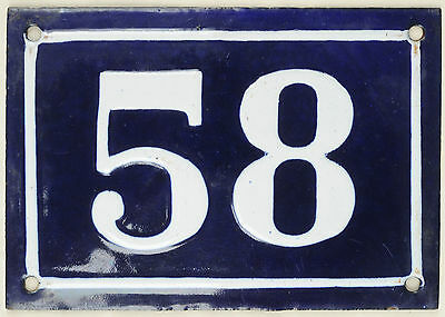 Large old blue French house number 58 door gate plate plaque enamel metal sign