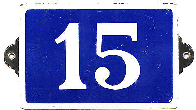 Old blue French house number 15 door gate plate plaque enamel steel metal sign