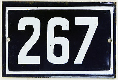 Old blue French house number 267 door gate plate plaque enamel steel metal sign