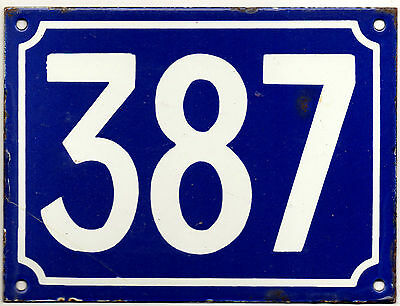 Large old blue French house number 387 door gate plate plaque enamel metal sign