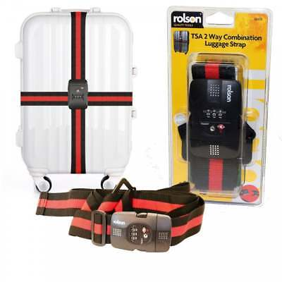 Rolson TSA 2 Way Combination Luggage Suitcase Strap Heavy Duty Adjustable 4M