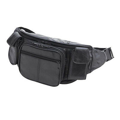 Large Black Genuine Leather Waist Fanny Pack Belt Bag Travel Hip Purse Solid