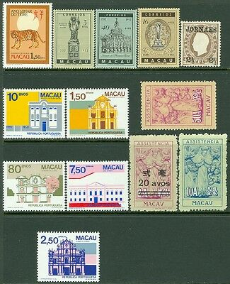MACAU : Nice lot of Mint singles & sets. Very Fine.  Scott Catalog $100.00.