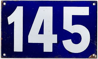 Giant old French house number 145 door gate plate plaque enamel steel metal sign