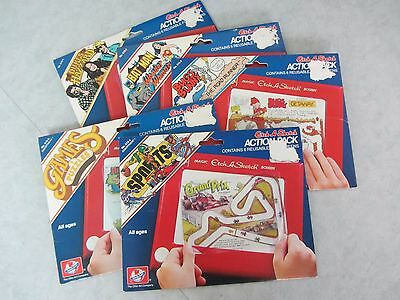 Lot Of 5 Used Assorted Etch A Sketch Action Packs ~ Dukes & More ~ Ohio Art 1981