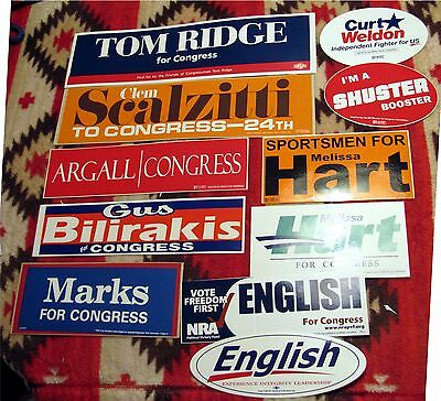 Pennsylvania Congressional Candidates Stickers 11 in Lot