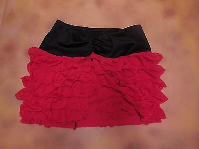 NWOT mini ruffle Latin inspired flutter skirt medium ch red black swimsuit cover