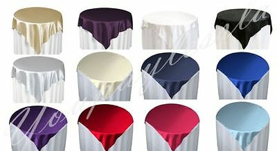 "5 Piece 60"" x 60"" Square Satin Table Overlay Party Event Celebration Occasion"