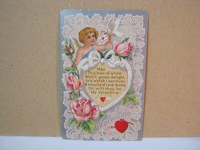 Cupid with Dove Antique Valentine Postcard Embossed Postmarked 1911  T*