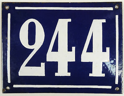 Large old French house number 244 door gate plate plaque enamel steel metal sign