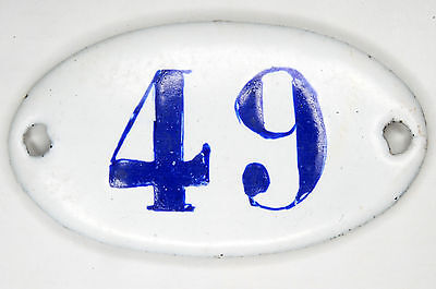 Old blue oval French house number 49 door gate plate plaque enamel steel sign