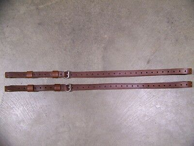 Leather Luggage Straps for Luggage Rack Carrier 2 Piece Set  Brown SS Buckle