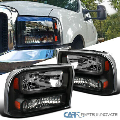 For 99-04 F250/F350 Super Duty 00-04 Excursion Pickup Black Clear 1PC Headlights