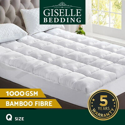 Giselle Bedding Bamboo Pillowtop Mattress Topper Fibre 1000GSM Pad Cover QUEEN