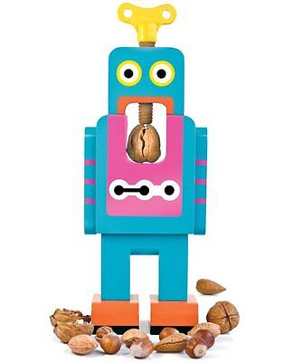 SUCK UK Retro ROBOT NUTCRACKER Large BLUE Wooden Nut Cracker 32cm Tall