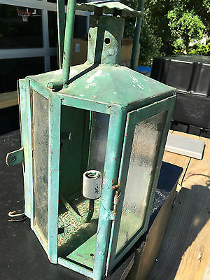 Vintage Antique Green Wall Sconce Porch Light Opaque Glass Old Classic Design