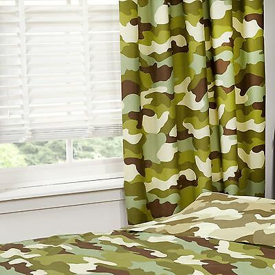 """CAMOUFLAGE 66"""" x 54"""" LINED CURTAINS NEW ARMY MILITARY BOYS BEDROOM"""