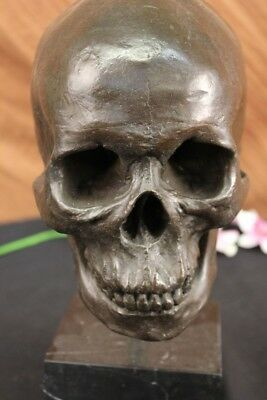 Signed American Artist Skeleton Head Bust Bone Halloween Decoration Gift Decor
