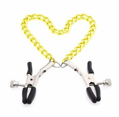 New gold chain nipple clamps shaking stimulate milk clip overcast female breast
