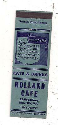 Holland Café 15 Broadway Milton PA Northumberland County Matchcover 051516