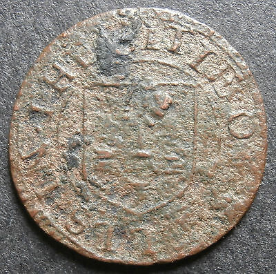 "Farthing token - Wells 1657 city issue Somerset #300 - ""covnty of svmmerset"""