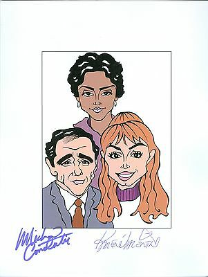 MICHAEL CONSTANTINE & KAREN VALENTINE Room 222 Signed 8.5x11 Cartoon Autograph a