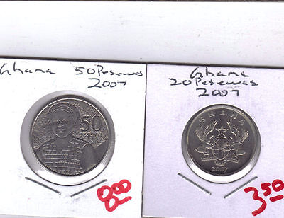 From Show Inv. - 2 NICE UNC. COINS from GHANA - 20 & 50 PESEWAS (BOTH 2007).
