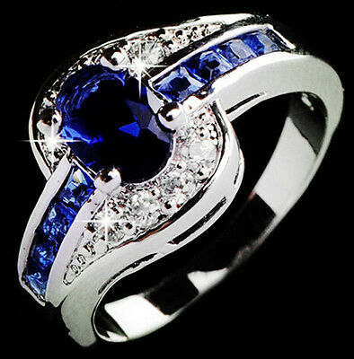 Blue Sapphire Women White Gold Filled Engagement Ring Size 7 8 9 Rings Jewelry