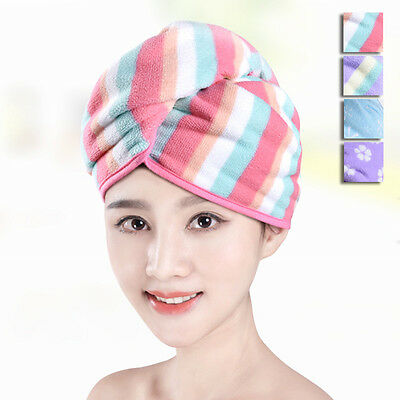 New Women Bathing Shower Cap Quick-Dry Hair Towel Turban Washcloth Hat Head Wrap