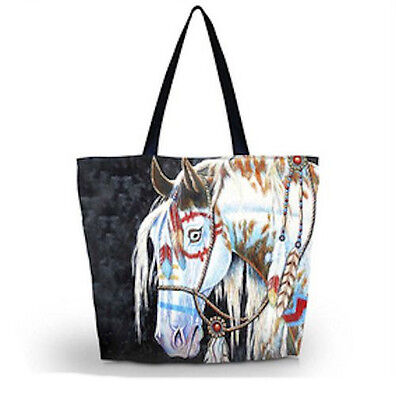 Horse Riding Equestrian Western Accessories Native  Horse Print Shopping Tote