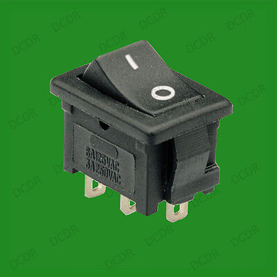 Black Mini Snap-In Rocker Circuit Project Switch 3-Pins Open, ON-OFF, 6A 250V AC
