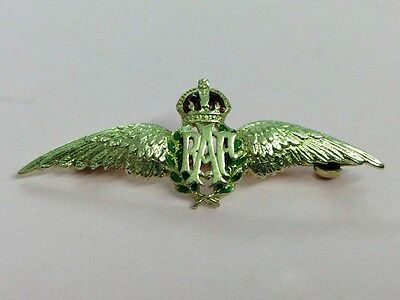 Vintage 14K Gold & Enamel R A F Wings Sweetheart Brooch Pin 1950