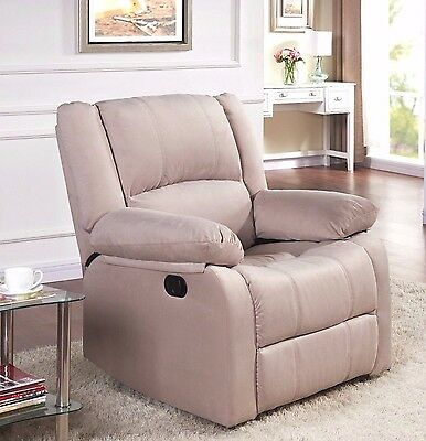 Recliner Armchair Real Leather Bonded Fabric Home Sofa Lounge Chair Reclining