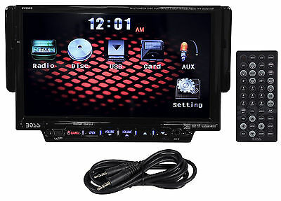 "Boss BV8962 7"" Single Din Touchscreen Car DVD/USB/SD Monitor Receiver+Aux Cable"
