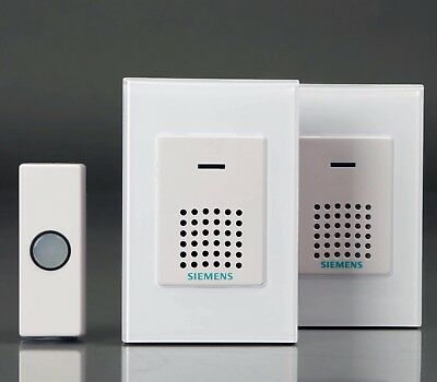 Siemens Twin Pack Wirefree Portable Door Chime with Wireless Bell Push DCWF4