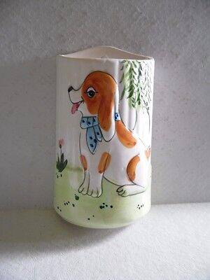Vintage Dog Beagle Ceramic Wall Pocket
