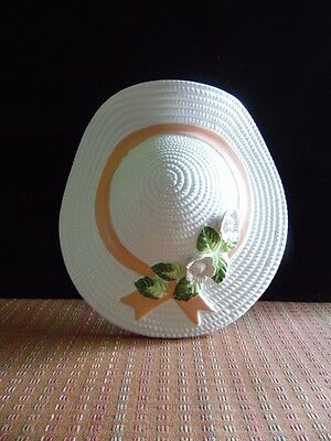 Vintage Ceramic Straw Hat Peach Ribbon & White Flowers Wall Pocket